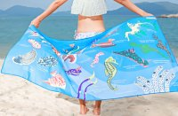 T09 skyblue nudibranches identification dry towel *80cm x 140cm*